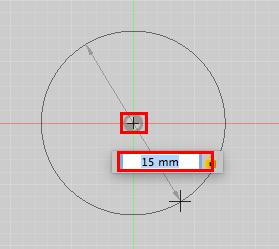 Fusion 360で15mmの円を配置