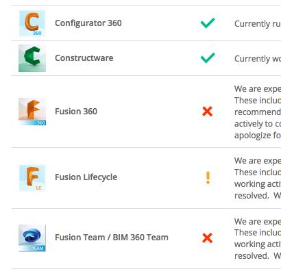 Fusion360のクラウドサーバーにアクセスできなくなっています。
