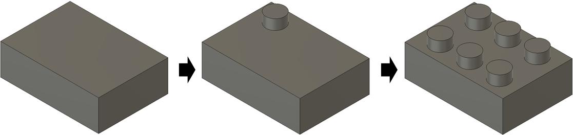 直方体からブロックを作成する様子