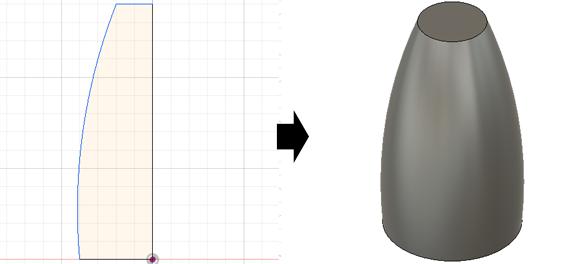 スケッチを回転して3Dモデルを作成する様子