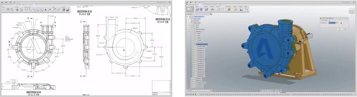 3DCADと2DCADの画面